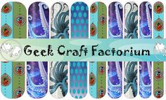 Steam punk Octopus Nail Water Decal Wraps