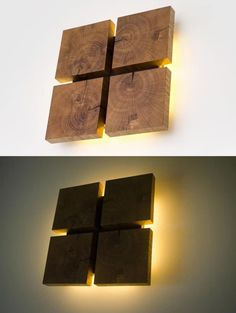 Square Wooden Oak Sconce Wall Lamps & Sconces