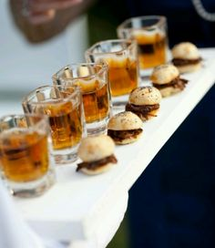 beer shooters and mini pulled pork sandwiches