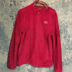 North face jacket It is a fuzzy pink north face jacket. Only used once or twice size large North Face Jackets & Coats