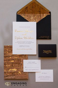 Custom industrial chic wedding invitation suite with gold foil and cork fleck details!