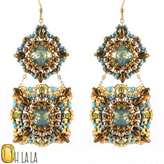 These turquoise and Swarovski earrings have an interesting geometrical shape. They still manage to be fashionable and ultra feminine. A beautiful