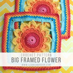 An easy crochet square in a rainbow of colors featuring a big flower in the middle!  The crochet square measures 10 inches and is available in both American and British crochet terms. #crochet #crochetpattern #crochetsquare #grannysquarepattern