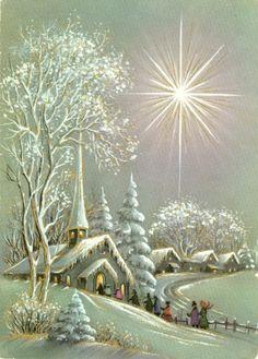 Christmas Scenery, Christmas Past, Winter Christmas, Christmas Crafts, Christmas Decorations, Xmas, Vintage Christmas Images, Retro Christmas, Vintage Holiday