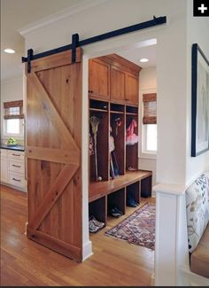 Barn door - between mud room and great room/kitchen