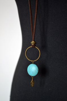 Turquoise bronze suede long boho necklace boho necklace by LeOcty