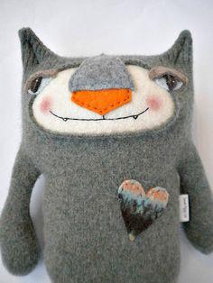 Green Sweater Kitty Repurposed Ralph Lauren by sweetpoppycat