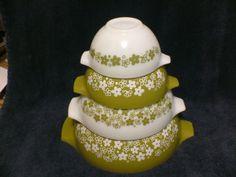 4-Pc-Set-Pyrex-Crazy-Daisy-Spring-Blossom-Cinderella-Style-Mixing-Bowls - $51.00