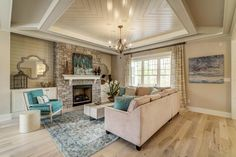 Filled with soothing colors, custom details, and a warm and welcoming vibe, this home by TimberCreek Building & Design is as gorgeous as they come! Part of 2017 Richmond Homearama, the inspirin… Open Kitchen Layouts, Shingle Style Homes, House Of Turquoise, Soothing Colors, Ceiling Design, Ceiling Detail, Living Room Decor, Living Rooms, Living Area