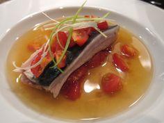 Umami broth with poached mackerel
