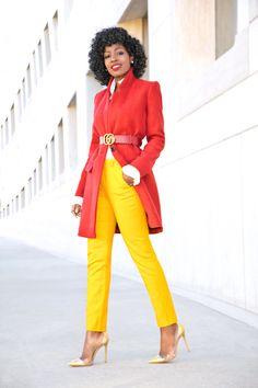 Structured Coat + Ruffle Sleeve Shirt + Cigarette Pants