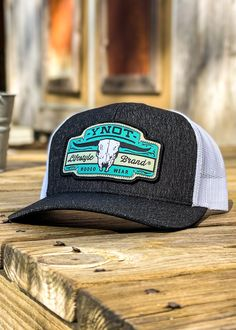 Logo: Embroidered Patch Material: Cotton/poly-twill front panels, Trucker mesh back Closure: Plastic snap adjustable Sizes: Adult | One size fits most Heather Black, Cattle, Patches, Mesh, Embroidered Patch, Black And White, A3, Plastic, Closure