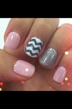 Chevron nails -- light pink, white and grey. LOVE them!
