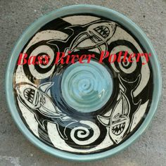Sgraffito large bowl. Sharks Sgraffito, Large Bowl, Sharks, Cape Cod, Bass, Pottery, River, Cod, Ceramica