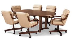 5 Piece Dinette Set With Caster Chairs Cherry Finish Pastel