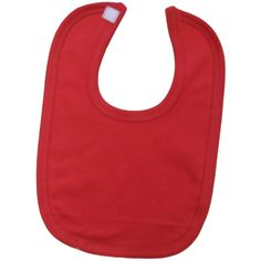 bac01841 - Baby Blank Plain Red unbranded 100% cotton velcro bib