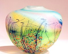 Vase from the 'Blossom' Series by Peter Layton at his London Glassblowing Workshop made in 1998. The range was first introduced in 1994. This vase is 13cm high. For a macro detail (posted earlier) see here.  More information on Peter Layton and his studio can be found at  www.londonglassblowing.co.uk