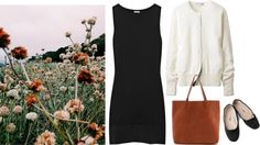 Untitled #277 by eizhowa featuring a real leather tote ❤ liked on PolyvoreMiu Miu black cotton dress, $535 / Uniqlo cashmere top, $46 / Black ballet pumps, $25 / Madewell real leather tote
