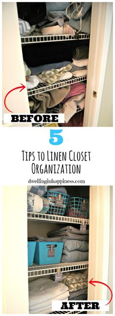5 Tips to Organizing Your Linen Closet Like a Boss (+ Free Printable Labels!) - Dwelling In Happiness