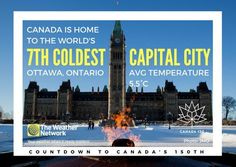 Though #Ottawa is considered an extremely cold city in North America, there are far colder capitals in the world. Great 🇨🇦 fact 107/150 #Canada150