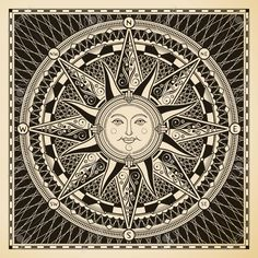 Illustration about Vintage sun compass rose in woodcut style. Vector illustration with clipping mask. Illustration of mascot, face, south - 20281972 Sun Moon Stars, Sun And Stars, Sol Mandala, Art Soleil, Sun Illustration, Stock Illustrations, Compass Design, Mariners Compass, Sun Tattoos