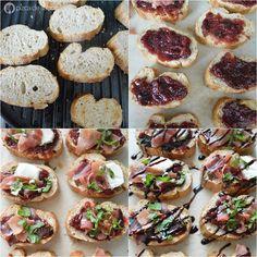 Bruschetta de higo, jamón serrano y queso de cabra www.pizcadesabor.com Canapes, Tacos, Brunch, Appetizers, Ethnic Recipes, Food, Cake, Christmas, Gourmet