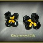 Earrings - Black sculpted Iris