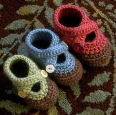 Crocheted baby booties.