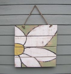 Reclaimed wood hand painted daisy sign with by BloomingTreeDesigns, $48.00