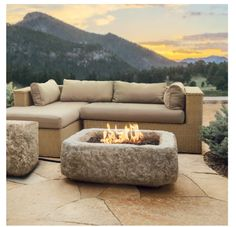 Antique Stone Rectangle Propane Fire Table with Natural Gas Conversion Kit. This stunning design of the Real Flame Antique Stone Rectangle Gas Fire Table will add a unique look to any outdoor setting! Deck Fire Pit, Propane Fire Pit Table, Gas Fire Table, Fire Pit Backyard, Backyard Patio, Fire Pits, Backyard Landscaping, Landscaping Design, Outdoor Gas Fire Pit
