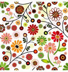 Floral wallpaper pattern on VectorStock