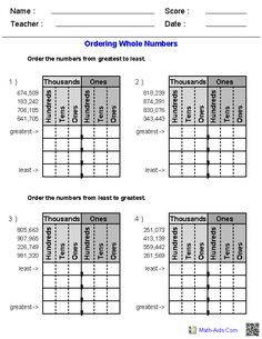 Great website for printables! Ordering Whole Numbers Worksheets                                                                                                                                                                                 More