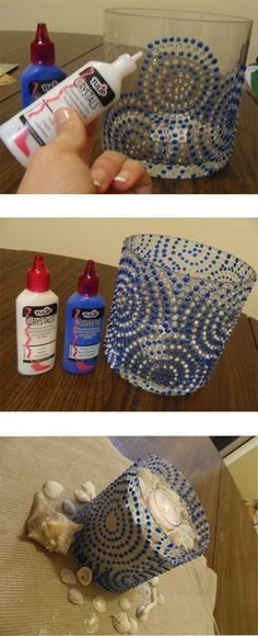 Plastic Container and Puff Paint Other Glassware Inspiration Of Diy Puffy Paint Diy Arts And Crafts, Jar Crafts, Cute Crafts, Crafts To Do, Diy Candle Holders, Diy Candles, Beeswax Candles, Ideas Candles, Diy Projects To Try