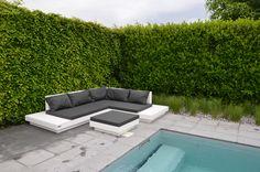 Met deze prachtige loungeset model 12 ben je helemaal klaar voor de zomer! Outdoor Sectional, Outdoor Lounge, Sectional Sofa, Outdoor Decor, Pallet Floors, Patio, Outdoor Furniture, Flooring, Garden