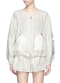 3.1 PHILLIP LIM Sleeve Cutout Pinstripe Linen Bomber Jacket. #3.1philliplim #cloth #jacket