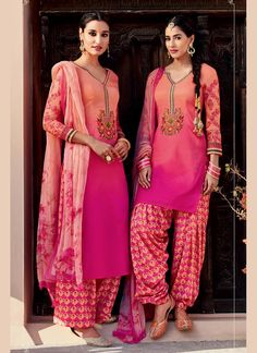 Mystic Hot Pink Embroidered Work Cotton Satin Designer Suit