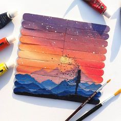 Ice Cream Stick Craft, Popsicle Stick Art, Love Drawings, Art Drawings Sketches, Water Paint Art, Dream Drawing, Diy Crafts For Teens, Simple Acrylic Paintings, Indian Art Paintings
