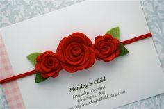 Felt Flower Headband in Red  Newborn Baby by MyMondaysChild, $7.95