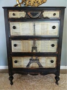 "Decoupage dresser with book pages plus Eiffel Tower drawing or try sheet music. Many ideas on ""Upcycled Dressers: Painted, Wallpapered, & Decoupaged"" - OMG! Now I know how I want that spare dresser repurposed. Decoupage Furniture, Refurbished Furniture, Repurposed Furniture, Furniture Projects, Furniture Making, Furniture Makeover, Home Projects, Painted Furniture, Diy Furniture"