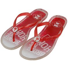 Philadelphia Phillies Slogan Jelly Flip Flops - Red/White ($4.99) ❤ liked on Polyvore featuring shoes, sandals, flip flops, red, red shoes, red sandals, summer shoes, red flip flops and beach flip flops