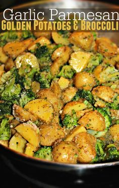 Garlic Parmesan Golden Potatoes & Broccoli - Simply Taralynn - Recipes For Dinner Broccoli And Potatoes, Parmesan Roasted Potatoes, Parmesan Broccoli, Broccoli Recipes, Garlic Parmesan, Broccoli Casserole, Vegetable Dishes, Vegetable Recipes, Recipes