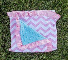Pink Chevron Blue Minky Blanket