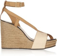 See by Chloe Elaphe and leather raffia wedge sandals on shopstyle.com