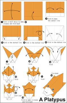 Origami ・ ornithorynque – Origami Community : Explore the best and the most trending origami Ideas and easy origami Tutorial Origami Tiger, Origami Yoda, Origami Star Box, Origami Ball, Origami Dragon, Origami Fish, Origami Stars, Origami Flowers, Origami Insects