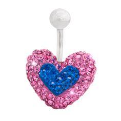 #piercing de ombligo con forma de #corazon y #brillantes de color #rosa y #azul 14.95€ en #PapayaBodyJewelry