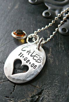 Hand Stamped Heart Necklace  Personalized Heart by yourcharmedlife, $55.00
