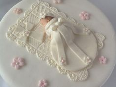 Baby Girl CHRISTENING CAKE TOPPER Edible Gum paste Cake topper, via Etsy.