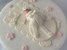 Baby Girl CHRISTENING CAKE TOPPER Edible Gum paste Cake topper, via Etsy.