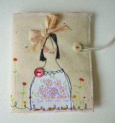 Needlecase . Pin keep . Free machine embroidered girl by hensteeth, £25.00