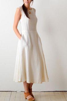 White linen dress with sleeveless and back v neck line ,All Handmade – RENZ TAILOR White Frock, White Linen Dresses, White Dress, Cotton Long Dress, Cotton Dresses, Rajputi Dress, Plus Size Maxi Dresses, Modest Dresses, Trendy Dresses